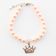 Armi store Handmade Pink Imitation Pearls Dogs And Cats Princess Crown Pendant Necklace 6051035 Dog Boutique Wholesale