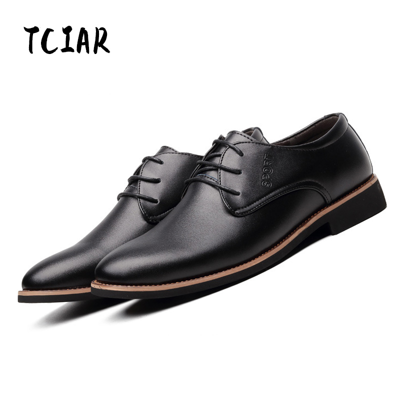 TCIAR Brand Fashion Mens Genuine Leather Shoes Classical Simple Lace-up Casual Shoes Business Shoes Men EURO Size 38-44 DA007<br>