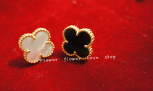 Superior Goods Gifts plated 18k gold 925 Sterling Silver Four Leaf Clover Large Stud Earring Style Female Headwear