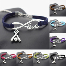 New Handmade Punk Sports Wristband Jewelry Women Men Leather Antique Silver Cross 3D Baseball Charms Infinity Love Bracelet Gift