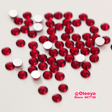 All Sizes Siam Red Nail Art Rhinestones Non HotFix Strass Flatback Round Stone For 3D Nails Jewelry Y0716