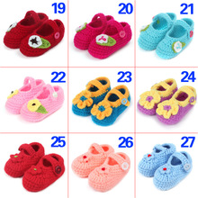 Multicolor Bowknot Crochet Baby Booties Patterns Handmade Girls Shoes New Born Toddler Shoes 10 cm
