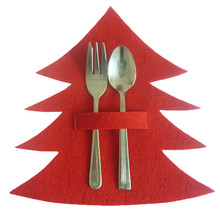 4pcs/set Red Christmas Tree Knives And Forks Cover Pockets Bag Dinner Tableware Holder Christmas X-mas Party Decoration Supply