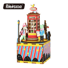 Free Shipping Robotime 3D Puzzle DIY Educational Wedding Souvenirs Wooden Hotel Novelty Christmas Music Box Phone booth AM401(China)