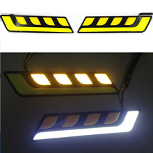 2pcs/lot Newest White/Yellow Car Head Light COB LED Daytime Running Lights DRL Fog Lights with Turn Signal