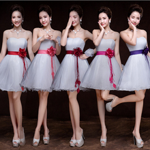 2017 new arrival flowered applique womens knee length ivory cheap party bridesmaid special occasion dresses girls under 50 B3304