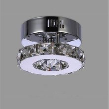 Minimalist Single ring D15cm crystal ceiling lamp led aisle lights Stainless steel corridor home balcony dining room lighting