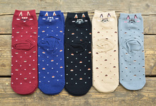 Lovely Dots 3D Cat socks original brand female funny socks Factory store cheap sale winter socks Japan kawaii socks(China)