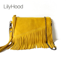 2017 Women Real Leather Cute Wristlet Shoulder Bag Casual Trendy Small Cell Phone Plain Nubuck Suede Tassel Fringed Hand Bag