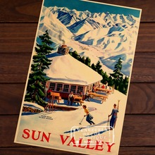 Ski in Austria Sun Valley Map Classic Vintage Retro Kraft Decorative Poster Maps Home Bar Posters Wall Sticker Decor Gift to Kid