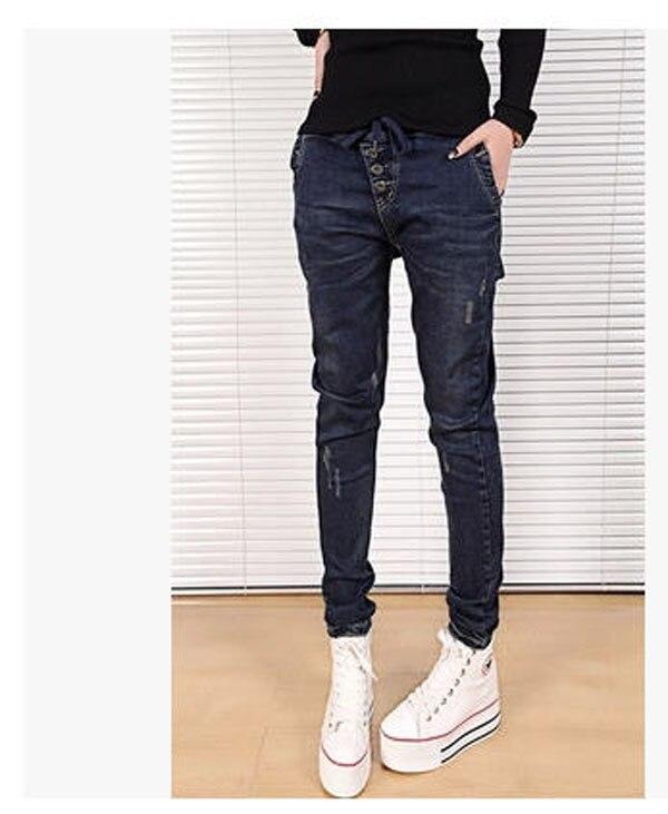 2015 Women Harem Pants Elastic Waist Female Casual Slim Loose Drawstring Skinny  Pencil Pants Black Blue Denim Trousers S1076Одежда и ак�е��уары<br><br><br>Aliexpress