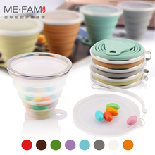 ME.FAM 270ml Stainless Steel Silicone Folding Cup With Lanyard / Dustproof Cover Lid Outdoor Coffee Cups Retractable Travel Copa(China)