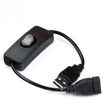 USB Cable Male to Female Switch ON OFF Cable Toggle LED Lamp DC Power Line Black 28cm