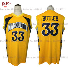 Hot New Cheap Throwback Jimmy Butler 33 Marquette Golden Eagles College Basketball Jerseys Yellow Embroidered Retro Mens Shirts(China)