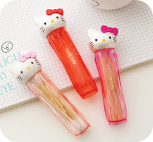 Kitty Cat Transparent Cotton Sticks Toothpick Holder.Pocket Small Portable Toothpick Box.Home Dining Table Decor.Storage Box(China)