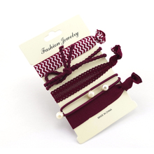 Trendy Summer New Fashion wine red Elastic Women Hair Accessories Hair bands Jewelry For Girls Hair Ties Hair wear HT-102
