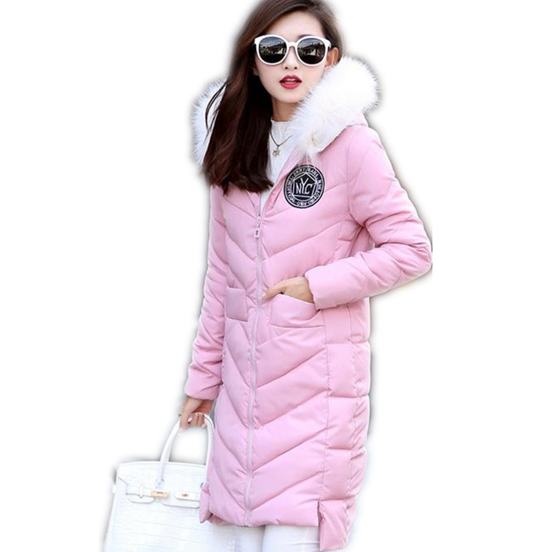 2017 Fashion Winter Women Down Cotton Long Jacket Parka Female Hooded Fur Collar Thicken Outerwear Size M-3XL Cotton Parka CQ449Îäåæäà è àêñåññóàðû<br><br>
