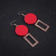 2017 New Korea Fashion style 2 Style No Piercing Red Round Wood Earrings Jewelry Square Dangle Drop Hook Earrings for Women