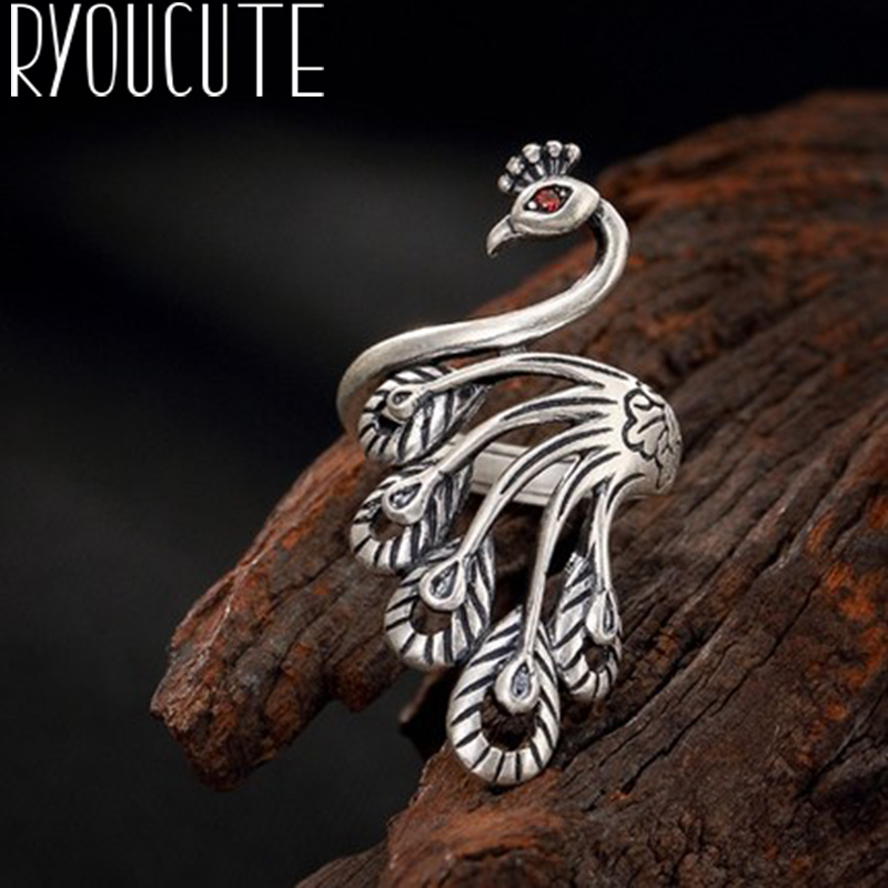 Rings for Wedding-Jewelry Peacock 925-Sterling-Silver Antique Women Luxury Anelli Gifts title=