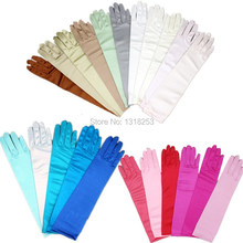 Elbow Length Long Wedding Gloves Casual Evening Christmas Party Full Finger Gloves for Bride Bridesmaid Women Simple Satin New
