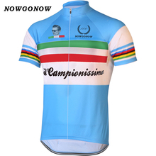 2017 OEM Retro Summer man jersey cycling Quick Dry/blue bike clothing bicycle wear ropa ciclismo maillot leader NOWGONOW custom(China)