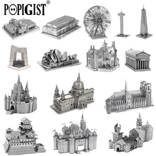POPIGIST 3D Metal Puzzle Building DIY Children Adult  kids Model Toys Jigsaw Tower Castle  Earth Famous Architecture Anti Stress