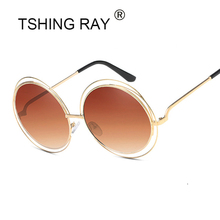 TSHING RAY Vintage Oversized Round Sunglasses Women Brand Designer Metal Big Hollow Frame Superstar Steampunk Sun Glasses UV400(China)