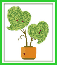 Любовь бонсай дерево вышивка крестом комплект количество штамп ткани 18-каратное 14ct 11ct ручная вышивка diy ручной работы рукоделие принадлежн...(China)