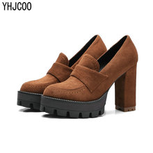 European and American Style Simple Suede Casual  Women Pump Shoes Platform Thick Heel High Heels Woman Shoes Size 34-43