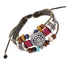 High Quality Adjustable Vintage Multilayer Braided Beads Tibetan Silver Charm Warp  Leather Rope Bracelets Party Gift