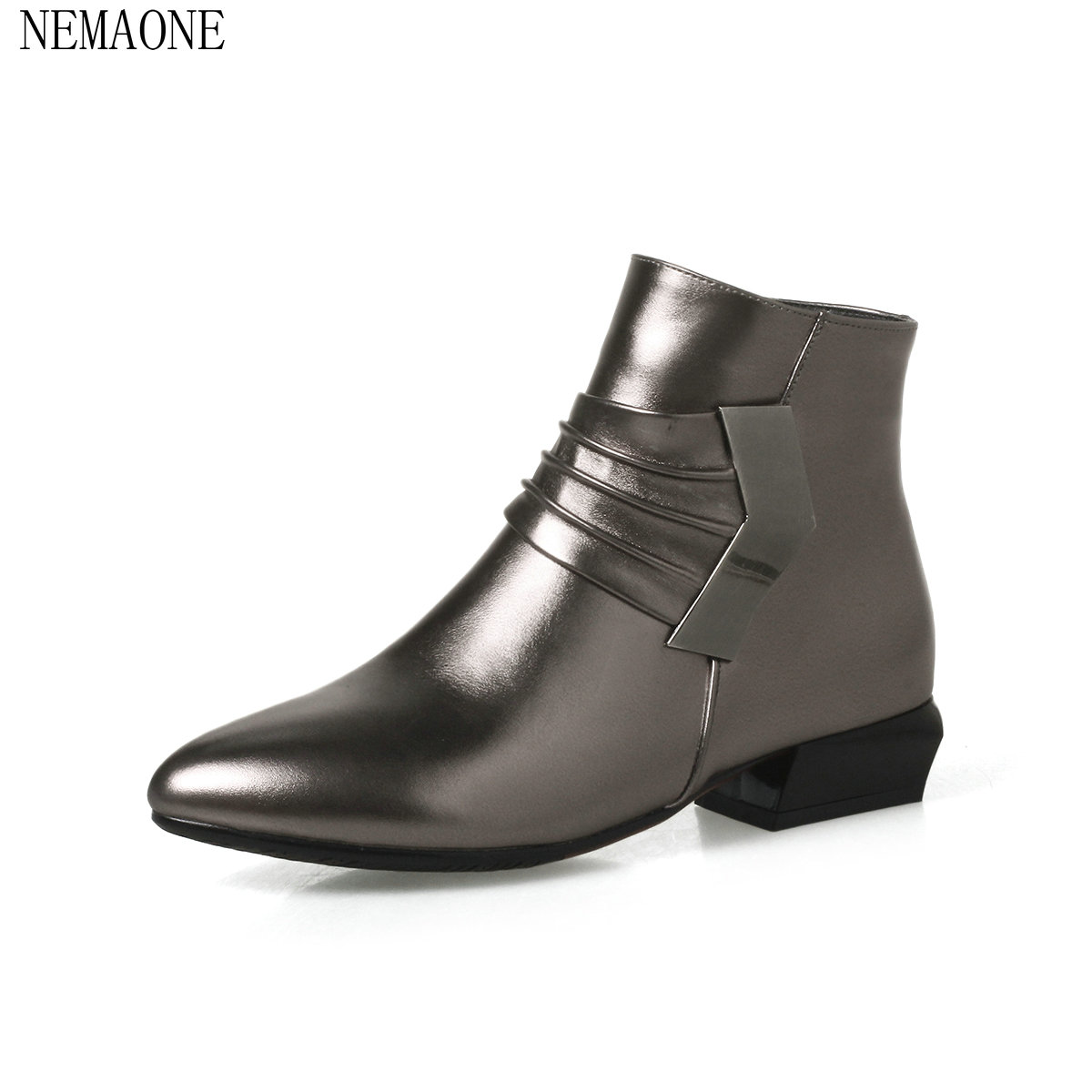 NEMAONE ankle boots special cross-tied lace-up height increasing round toe solid winter wear-resisting retro women boots<br>