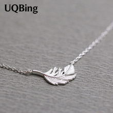Free Shipping Fashion 925 Sterling Silver Necklace Silver Angel Feather Shape Necklaces For Women Jewelry