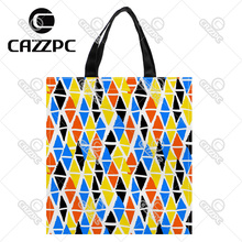 Colorful Hand Painted Diamond Geometric Shapes Print Custom Oxford Nylon Fabric Shopping Storage Grocery bag Pack of 2