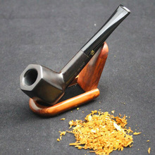 Handmade Nature Ebony Wood Straight Type Smoking Pipe Round Weed Tobacco Wooden Pipe Gift 10pc 9mm Filter+Pouch+Holder #537YB