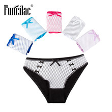 Buy FUNCILAC Sexy Women Underwear Cute Polka Dots Panties Cotton Briefs Underpants Female Ladies Knickers Lingerie 5pcs/lot