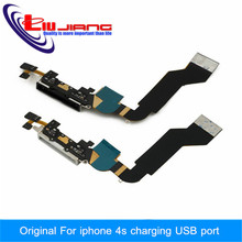 New Original For Iphone 4S Charger Dock USB Charging Port Plug Flex Cable With Mic Microphone