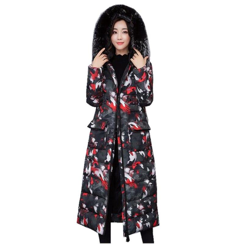 Womens new winter feather cotton coats female camouflage knee jacket thickening large size Slim long big fur collar hooded parkÎäåæäà è àêñåññóàðû<br><br>