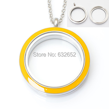 30mm stainless steel round Twist floating lockets , yellow color with free 50-55cm chain FN2009(China)