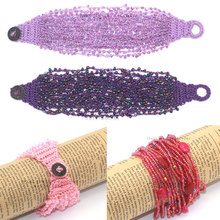 2016 fashion multi-strand colorful stone pink seed beads bracelets with coin buttom women bracelet bead bracelet gift bracelet