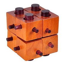 Wooden Eight Squares Puzzle Burr Puzzles Brain Teaser Intellectual Magic Cube(China)