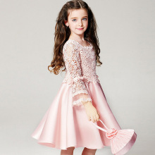 Nicoevaropa 2017 New design girls dresses baby kids pink long sleeves lace hollow out party dress fashion children clothes