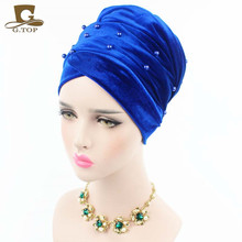 5 pieces/lot New Luxury Woman Velvet Turban Headband Beaded Studded Pearled Extra Long Velvet Turban Head Wraps Hijab Head Scarf(China)