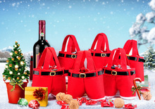 Free shipping Christmas Gift Bag Santa Wine Bottle Cover Santa Gift Pant Style Treat Bags For Candy