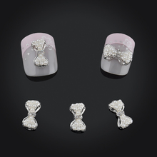 Charms Pearl Bow 10pcs/pack Rhinestones Nail Art Decorations Sliver 3d Nail Jewelry Alloy Decoration Nails Art Free Shipping(China)