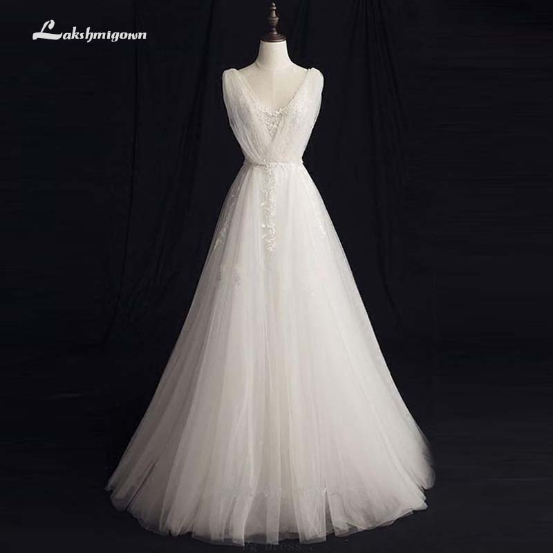Vestido de noiva Vintage V-neck A-Line Wedding Dress Sequined Ivory Bridal Dress Robe de mariage