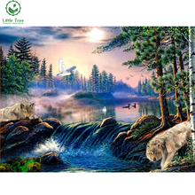 wolves meeting place full mosaic diamond embroidery landscape wall sticker 5d diy diamond painting crystal cross stitch crafts(China)