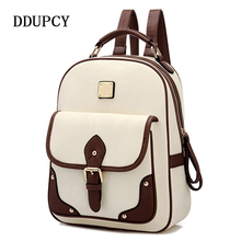 DDUP 2017 Fashion High Quality Brand Patchwork Women Travel Bag Women's PU Leather Backpack girls School Backpack