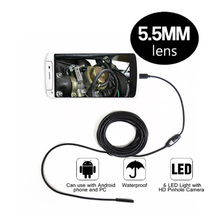 5.5mm Dia Android Endoscope Camera 6LED 2M Cable Inspection car Borescope USB Micro Waterproof Endoscope Camera for PC Smartph