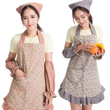 Set of three-piece adult apron sleeve sets of headscarf anti-pollution princess Korean fashion kitchen woman(China)