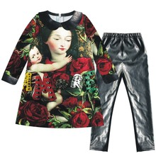 girls sets clothing Autumn and winter  Beautiful Green leaves Red roses gril set kids ,kids set fashion clothes baby sets